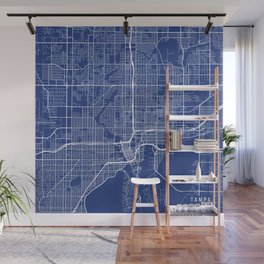Tampa Map, USA - Blue Wall Mural