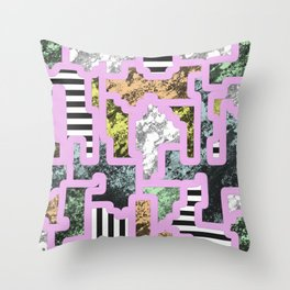 Paint Segregation - Abstract, geometric, multi patterned pop art Throw Pillow