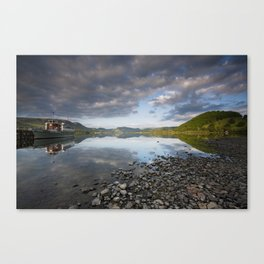Tour boat and reflections at sunrise. Ullswater, Lake District, Cumbria, UK Canvas Print