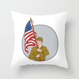 American Soldier Holding USA Flag Circle Drawing Throw Pillow