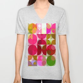Crape Myrtle Abstract Circles 3 Unisex V-Neck