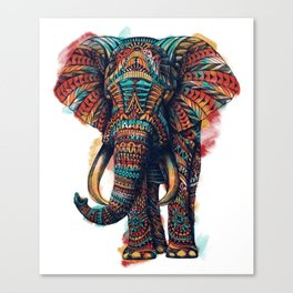 Ornate Elephant (Watercolor) Canvas Print