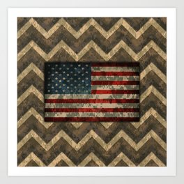 Brown Military Digital Camo Pattern with American Flag Art Print