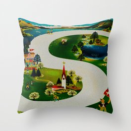 Vintage Switzerland Travel Throw Pillow