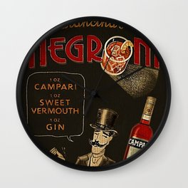 Arancina's Negroni Campari Italian Sweet Vermouth with Gin Red Vintage Advertising Poster Wall Clock