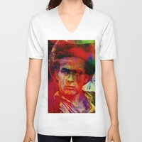 james franco V-neck T-shirts featuring James  by Joe Ganech
