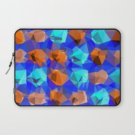 geometric polygon abstract pattern in blue and brown Laptop Sleeve