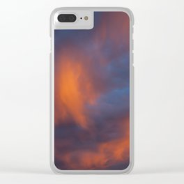 orange light on cirrus clouds and blue sky Clear iPhone Case