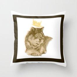 King Wolf  Throw Pillow
