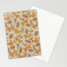 Vintage Golden Tigers Pattern / Big Cats, Leaves, Nature Stationery Cards