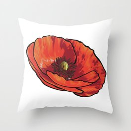 Orange Poppy Flower Throw Pillow