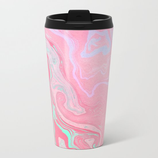 Marbled Effect with Pink Metal Travel Mug