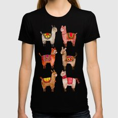 Alpacas MEDIUM Black Womens Fitted Tee