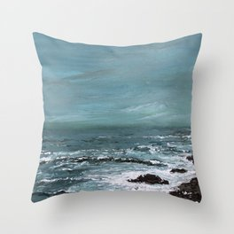 """""""Sound of the Sea"""" Teal Seascape Ocean Painting Throw Pillow"""