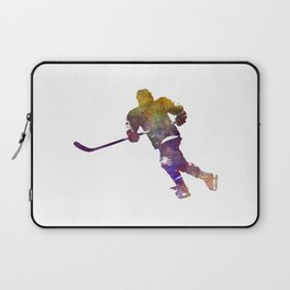 Skater with stick in watercolor Laptop Sleeve