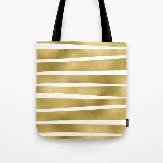 Gold unequal stripes on clear white - horizontal pattern Tote Bag