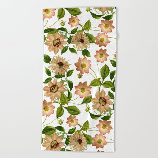 Floral retro vintage pattern pastel colored Beach Towel