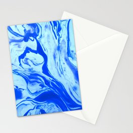 Blue Liquid Marble Stationery Cards