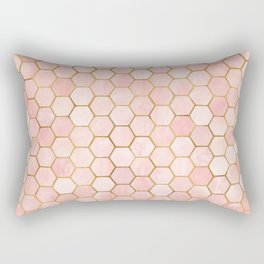 Pink and Gold Geometric Pattern Rectangular Pillow