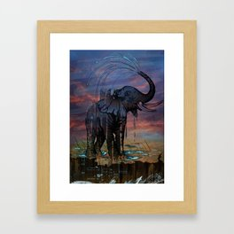 Naughty Elephant Squirts Water Framed Art Print
