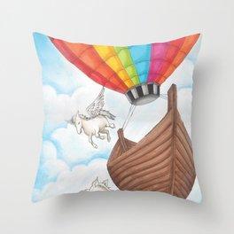 PEGASUS and RAINBOW AIR BALLON Throw Pillow