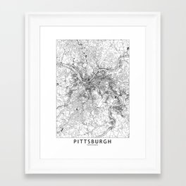 Pittsburgh White Map Framed Art Print