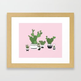 Cactus Love (in pink) Framed Art Print