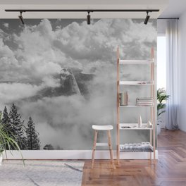 Half Dome in the Clouds, Yosemite National Park, Yosemite Photography, Black and White Photography Wall Mural