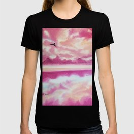 Freedom 2, Pink Sunset Beach, Pink Sky, Clouds, Skyscape, Waterscape T-shirt