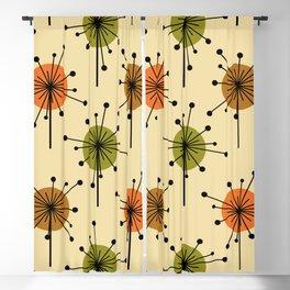 Atomic Era Sputnik Starburst Flowers Earth Tones Blackout Curtain