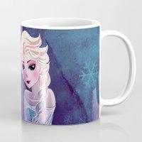 frozen elsa Mugs featuring Elsa Frozen by Kaori