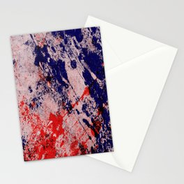 Hot And Cold - Textured Abstract In Blue, Red And Black Stationery Cards