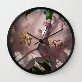 Pink Blooming Rhododendron Flowers Wall Clock