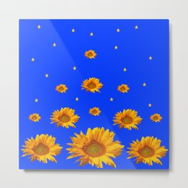 RAINING GOLDEN STARS YELLOW SUNFLOWERS BLUES Metal Print