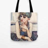 grimes Tote Bags featuring Grimes by Helen Green