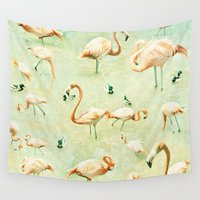 flamingos Wall Tapestries featuring Flamingos by Lisa Argyropoulos