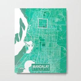 Mandalay City Map of Myanmar - Watercolor Metal Print