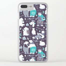 Arctic bear pajamas party Clear iPhone Case