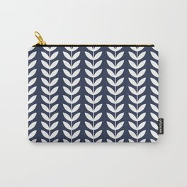 Navy Blue and White Scandinavian leaves pattern Carry-All Pouch