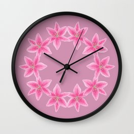 Lilies circle of trust - pink Wall Clock