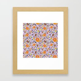 Cute Tropical Pattern Framed Art Print