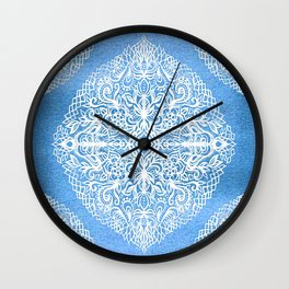 White Gouache Doodle on Pearly Blue Paint Wall Clock