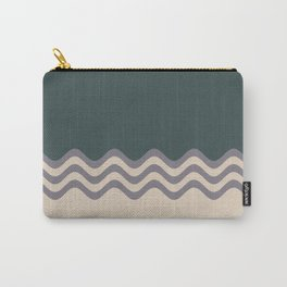 Magic Dust Muted Purple PPG13-24 & Sourdough Beige Wavy Horizontal Stripes on Night Watch Green Carry-All Pouch