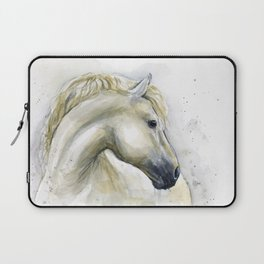 White Horse Watercolor Painting Animal Horses Laptop Sleeve
