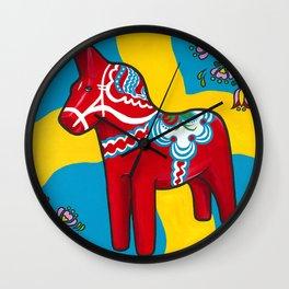 Dala Horse Wall Clock