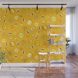 Honey Bees Life Pattern Wall Mural