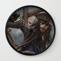 jack sparrow Wall Clocks featuring Captain Jack Sparrow by Art of Nym