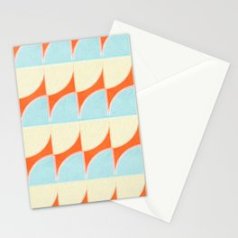 Circle Quarters Blue and White with Red Background Stationery Cards