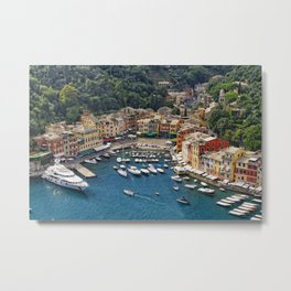 Small Harbor With Boats and Yachts Moored, Portofino, Liguria, Italy Metal Print
