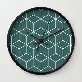 Cube Geometric 03 Teal Wall Clock
